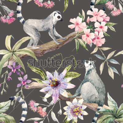 Carta da parati Watercolor tropical pattern with lemurs, passionflower, eucalyptus, Pink oleander, orchid and palm leaves