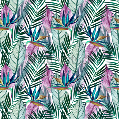 Carta da parati Watercolor tropical seamless pattern with bird-of-paradise flower, palm leaves. Exotic flowers, leaves on light background. Hand painted natural illustration