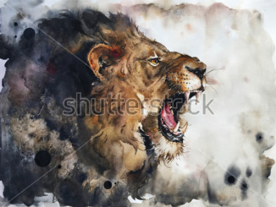 Carta da parati Watercolour painting of lion