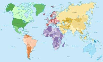 Carta da parati Weltkarte - einzelne Kontinente in Farbe (Hoher Detailgrad)