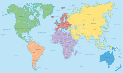 Carta da parati Weltkarte - Kontinente in Farbe (Hoher Detailgrad)