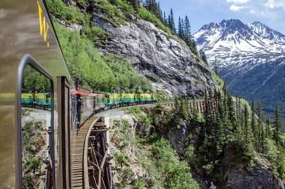 Carta da parati White Pass Yukon Route Railroad viaggia lungo le scogliere si dirigono verso Skagway, Alaska