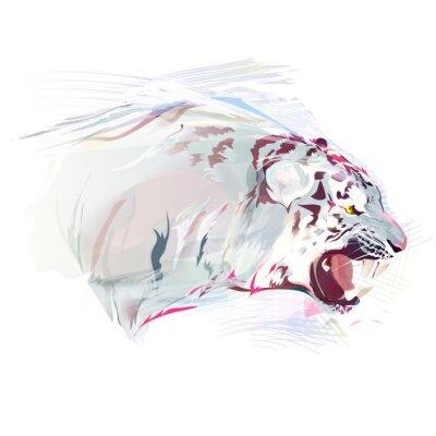 Carta da parati White Tiger, acquerello illustrazione