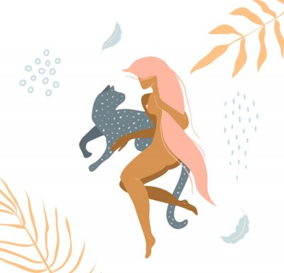 Carta da parati Wild cat and naked woman laying down in nature apparel print design.