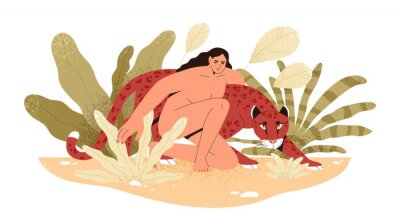 Carta da parati Wilderness naked woman hug jaguar at tropical bushes vector flat illustration. Predator and human together isolated. Contemporary concept of wild female nature, environment protection.