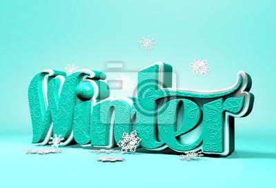 Fiocchi Di Neve Di Carta 3d : Winter 3d word dimensionale con fiocchi di neve carta da parati