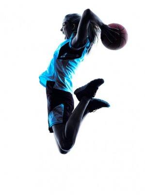 Carta da parati woman basketball player silhouette
