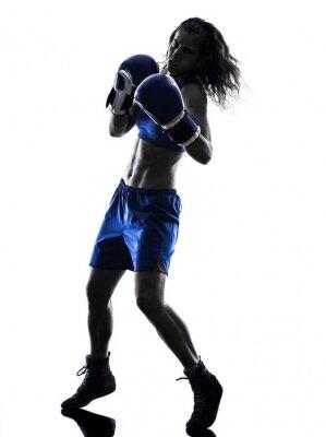 Carta da parati woman boxer boxing kickboxing silhouette isolated