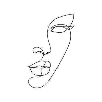 Carta da parati Woman face line drawing art. Abstract minimal female face icon, logo