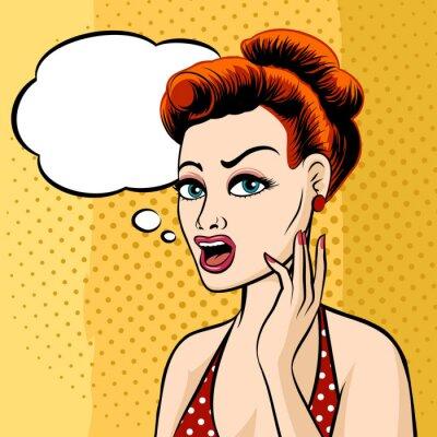 Carta da parati Woman Face with Speech Bubble