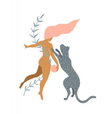 Carta da parati Woman naked and Wild Cat minimal silhouette modern art print design.