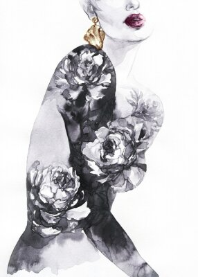 Carta da parati woman with flowers. beauty background. fashion illustration. watercolor painting