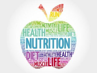 Carta da parati word cloud nutrizione mela, il concetto di salute