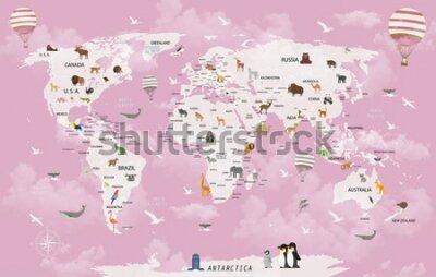 Carta da parati World map animals for child room wallpaper