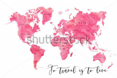 Carta da parati World map filled with pink watercolour effect and country names, with plenty of space to insert your own quote under the image.
