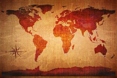 Carta da parati World Map stile grunge