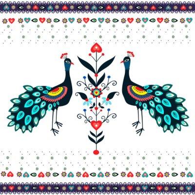 Carta da parati Wzór haftu z pawiami