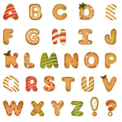 Carta da parati Xmas Gingerbread Cookie Alphabet