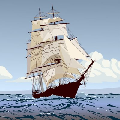 Carta da parati корабль с парусами бежит по волнам