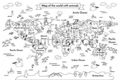 Carta da parati Coloring book map of the world. Ð¡artoon globe with animals. Black and white hand drawn vector illustration. Oceans and continent: South America, Eurasia, North America, Africa, Australia