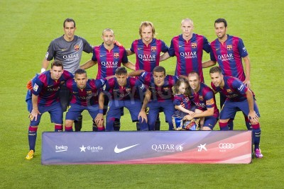 Carta da parati Giocatori FCB in posa per le foto Gamper partita amichevole tra FC Barcelona e Club Leon FC, punteggio finale 6-0, il 18 agosto 2014, a Camp Nou, Barcellona, Spagna