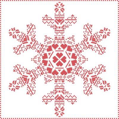 Carta da parati Scandinava punto croce nordica, maglieria modello di Natale a forma di fiocco di neve, con telaio in punto croce tra cui, neve, cuori, stelle, elementi decorativi in rosso su sfondo bianco
