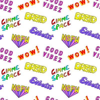 Carta da parati Seamless pattern con frasi colorate a fumetti, parole: