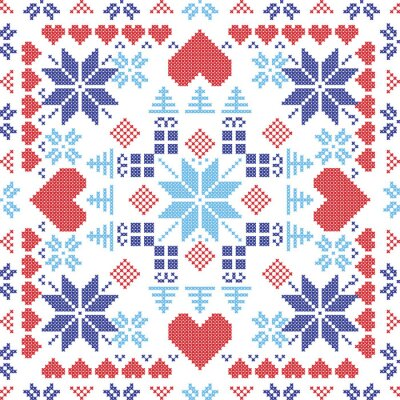 Carta da parati stile scandinavo interruttore rosso nordico inverno, maglieria seamless in forma quadrata compresi i fiocchi di neve, regali di natale, alberi di Natale, cuori e gli elementi decorativi in rosso e b