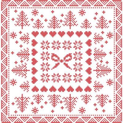 Carta da parati stile scandinavo punto Nordic inverno, maglieria seamless in piazza, di forma mattonelle compresi i fiocchi di neve, fiocco, albero di natale, fiocchi di neve Natale, cuori, elementi decorativi in r
