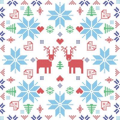 Carta da parati stile scandinavo Stich Nordic inverno, maglieria seamless in forma quadrata compresi i fiocchi di neve, alberi, fiocchi di neve Natale, cuori, renne ed elementi decorativi in laterizio rosso e blu