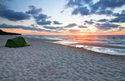 Carta da parati Zachód słońca na plaży morze Bałtyckie