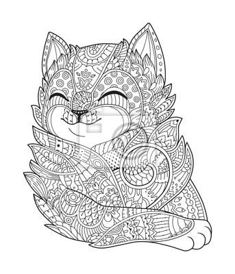 Zen Cat Art Mano Soffice Gatto Ritratto In Stile Zentangle Per
