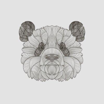 Carta da parati zentangle dettagli. Boho disegnato a mano stile Panda ritratto. Illustrazione vettoriale.