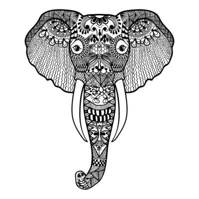 Carta da parati Zentangle stilizzato Elephant. Mano pizzo Drawn illustrazione vettoriale