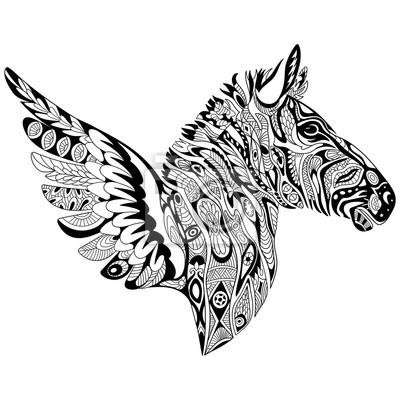Zentangle Zebra Cartone Animato Stilizzato Con Le Ali Isolato Carta
