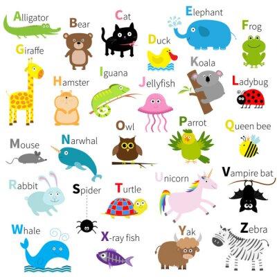 Carta da parati Zoo alfabeto degli animali. set simpatico personaggio dei cartoni animati. Isolato. disegno bianco. Bambino dei bambini all'istruzione.