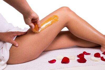 Carta da parati Zuccheraggio: depilazione con lo zucchero liquate a gambe.