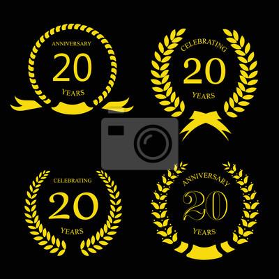 20 Anni Anniversario Corona Dalloro Doro 20 Anni Insieme Manifesti