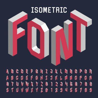 Poster 3d isometrico carattere alfabeto vettore. Isometrico lettere, numeri e simboli. Tridimensionale tipografia stock vettore per i titoli, manifesti ecc
