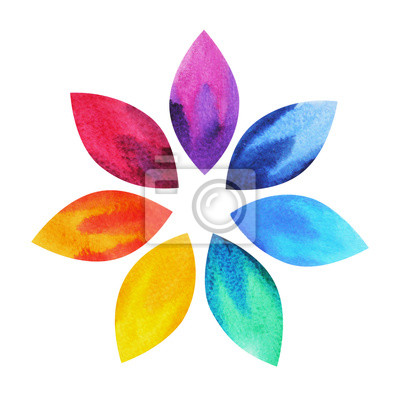 Poster 7 colore del simbolo chakra segno, loto icona colorata di fiori