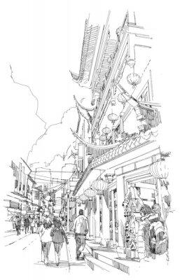 Poster a mano libera edifici cinesi schizzo e via della città