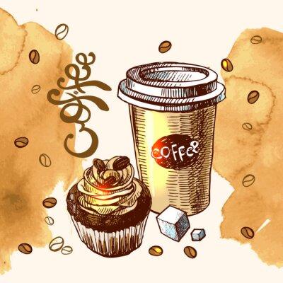 Poster abbozzo caffè illustrazione
