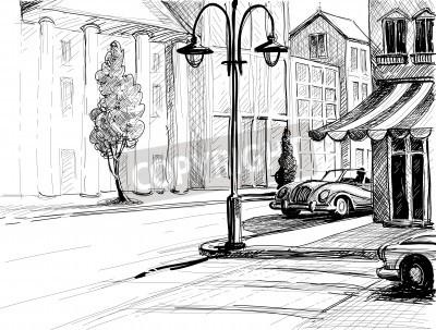 Poster Abbozzo Retro City, strada, edifici e vecchie auto illustrazione vettoriale, matita su carta stile
