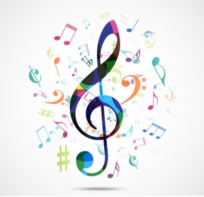 Poster Abstract background Colorful music notes