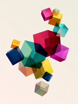 Poster Abstract colorful background with geometric elements
