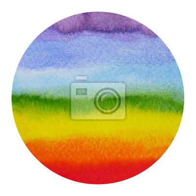 Poster Abstract forma arcobaleno cerchio, potere chakra aura, dolore acquarello