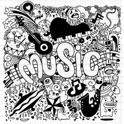 Poster Abstract Music Background disegno Doodle mano, illustratio vettore
