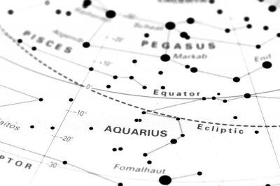 Poster Acquario stella mappa dello zodiaco. Segno zodiacale Acquario su una mappa di astronomia stella.