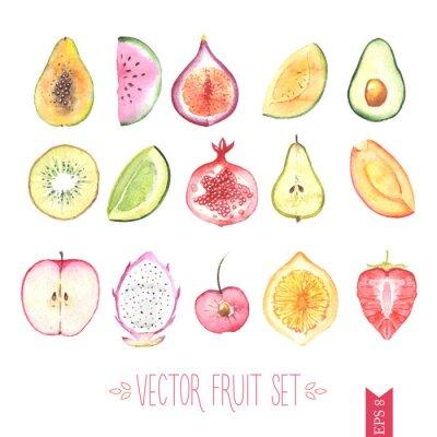 Poster Acquerello insieme vettoriale di frutta