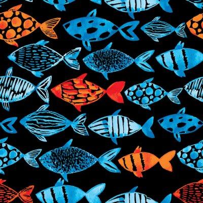 Poster acquerello luce blu e oro pesci sullo sfondo nero.